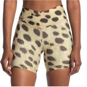 WeWoreWhat High Rise Leopard Biker Shorts V Front